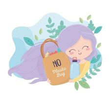 girl with shopping bag bottle plants environment ecology vector