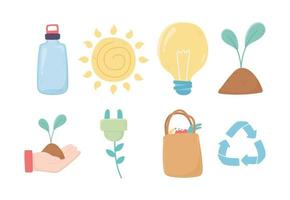 bulb plant shopping bag recycle bottle environment ecology icons vector