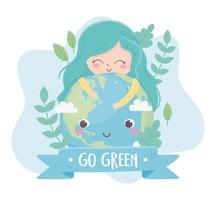 cute girl hugs world plants nature environment ecology vector