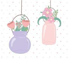 mason jars glass hanging flowers decoration vector