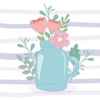 mason jar with delicate flowers decoration stripes background vector