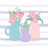 mason jars glass flowers floral decoration romantic vector