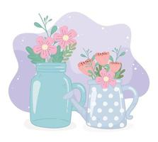 mason jar watering can with flowers foliage decoration ornament vector