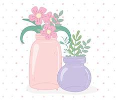 mason jars glass with fowers and leaves foliage decoration vector