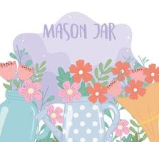 mason jar bouquet and watering can with flowers foliage decoration vector