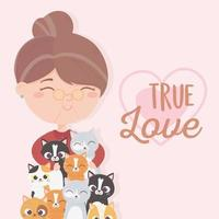 anciana con muchos gatos amor verdadero vector