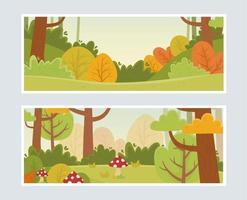 landscape nature foliage botanical mushroom plants banner vector