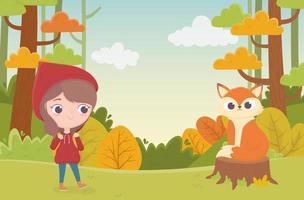 caperucita roja y lobo en el bosque de tronco cuento de hadas vector