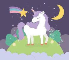 unicorn field moon night star fantasy magic dream cute cartoon vector