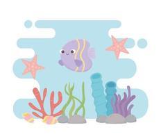 estrella de mar pescado conchas marinas vida arrecife de coral dibujos animados bajo el mar vector