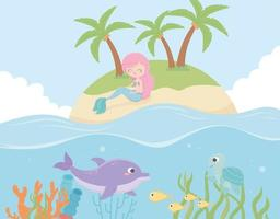 mermaid dolphin fishes under the sea vector