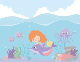 mermaid with dolphin octopus fishes coral cartoon under the sea vector
