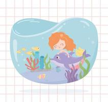 mermaid dolphin fishes coral cartoon under the sea background vector