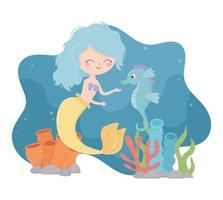 mermaid with seahorse reef coral cartoon under the sea vector