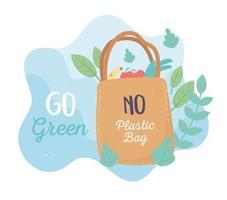 shopping bag market environment ecology cartoon design vector