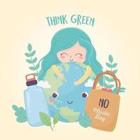 girl world bottle and shopping bag nature environment ecology vector