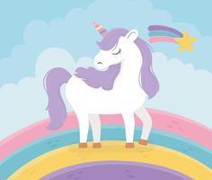 unicorn rainbow shooting star fantasy magic dream cute cartoon vector