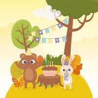 Oso y conejo con sombreros de fiesta celebración de pastel de regalo feliz día vector