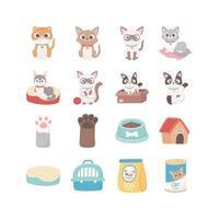 cats dog paw house food box ball, pets vector