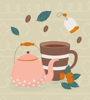 la hora del café, taza de café, tetera, bolsa de té, frijoles, hojas, bebida fresca vector