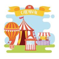 fun fair carnival food booth tent air balloon tickets recreation entertainment vector