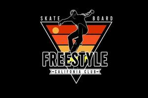 skateboard freestyle california club color yellow green and orange vector