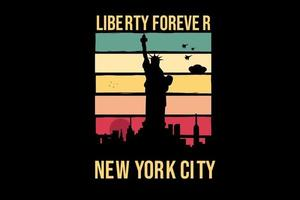 liberty forever new york city color pink and blue vector