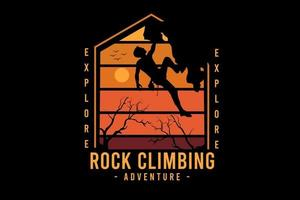 i expedition rock climbing adventure color orange and yellow vector