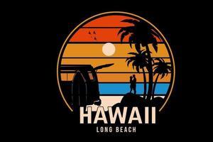 hawaii long beach color orange yellow and blue vector