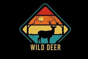 wild deer color orange yellow and green vector