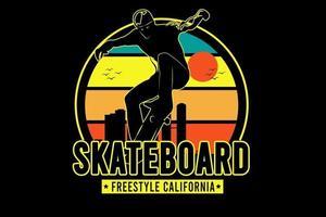 skateboard freestyle california color yellow green and orange vector