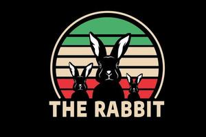 the rabbit color orange green and light brown vector