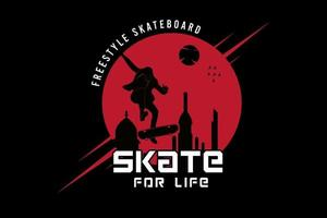 freestyle skateboard skate for life  color red and black vector