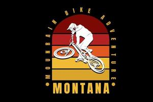 mountain bike adventure montana color red and yellow vector