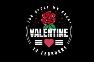 .robaste mi corazón san valentín 14 de febrero color rojo verde y blanco vector