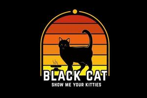 black cat show me your kitties color orange and yellow vector