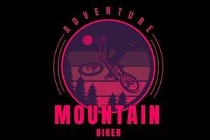 adventure mountain biker color purple and pink vector