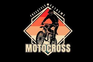 freestyle extreme motocross color red orange cream and green vector