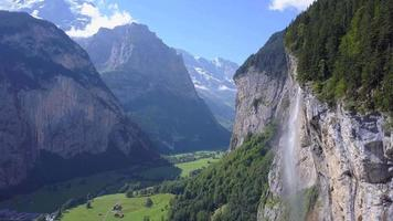 Aerial travel drone view of the Lauterbrunnen Valley and Staubbach Falls, Switzerland. video