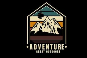 adventure great outdoors color green yellow and brown vector
