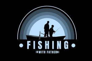 fishing with father color light blue gradient vector