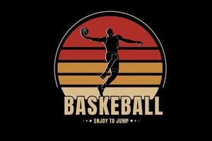basketball enjoy to jump color red and brown vector