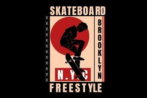 skateboard brooklyn  freestyle color red and cream vector