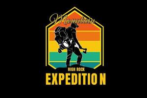mountain high rock expedition color orange yellow and green vector