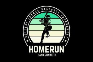 liga universitaria torneo de béisbol jonrón fuerza de la mano color verde degradado vector