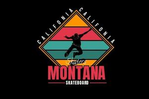 california skaters montana skateboard color yellow red and green vector