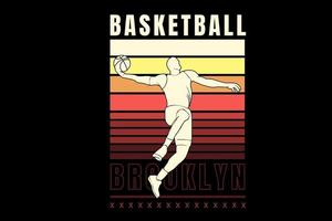 basket ball brooklyn color yellow and orange vector