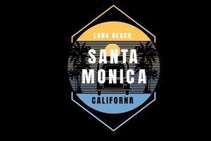 long beach santa monica california color yellow and blue vector