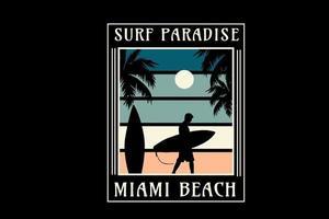 surf paradise miami beach color green and cream vector