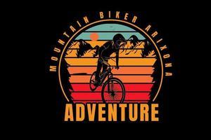 mountain biker arizona adventure color yellow red and green vector